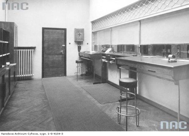 Fragment wnętrza na lotnisku Okęcie, zdjęcie z 1934 roku