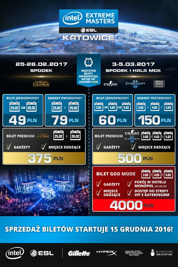 Bilety na Intel Extreme Masters 2017