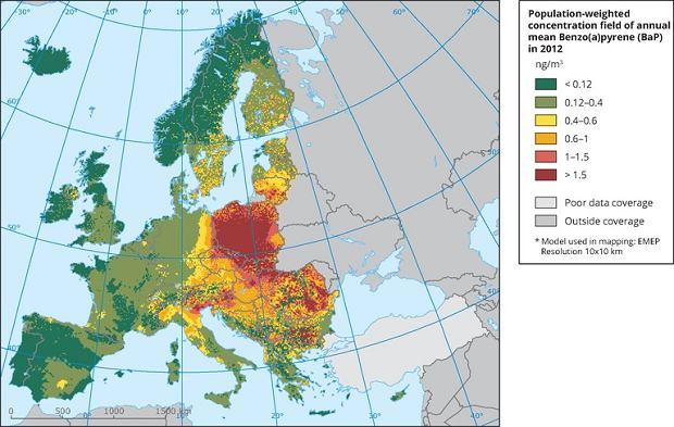 Poziom benzoapirenu przypadającego na 1 mieszkańca - raport Europejskiej Agencji Środowiska