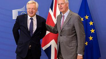 Szef negocjacji brexitowych z ramienia UE Michel Barnier (z prawej) oraz brytyjski sekretarz stanu David Davis podczas spotkania w Brukseli, 17 lipca 2017.