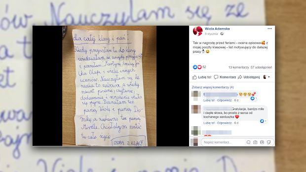 """Nauczycielka dostała wzruszający list od uczennicy. """"Nie mogłam doczytać do końca, bo łzy szczęścia cisnęły się same"""". Plan daltoński działa"""