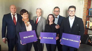 Od lewej: Sławomir Gromadzki, Monika Falej, Robert Biedroń, Elżbieta Murawko, Paweł Krutul, Tomasz Lewczuk