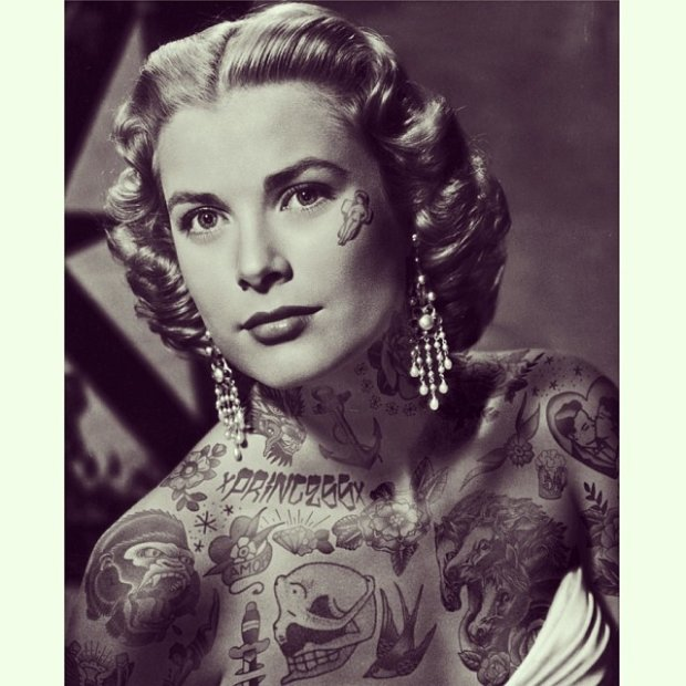 Grace Kelly z tatuażami na blogu