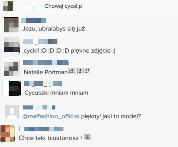 Komentarze na profilu Maffashion