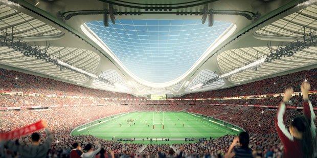 Stadion Olimpijski w Tokio na komputerowym renderingu