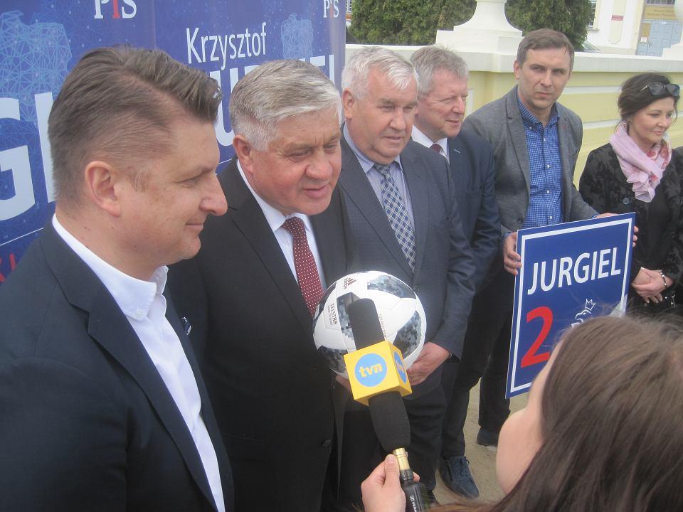 Konferencja prasowa kandydata do europarlamentu Krzysztofa Jurgiela
