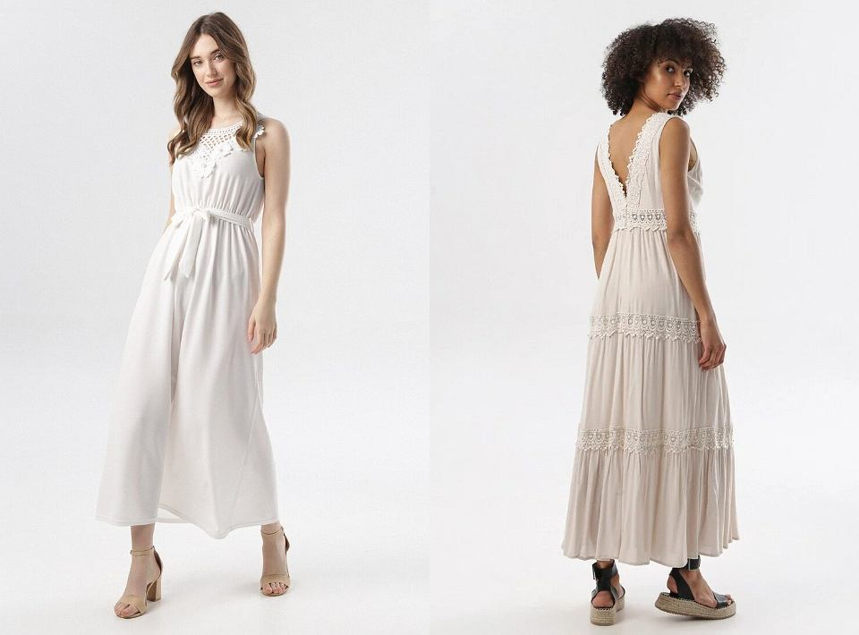 Długie sukienki z ażurowym zdobieniem
