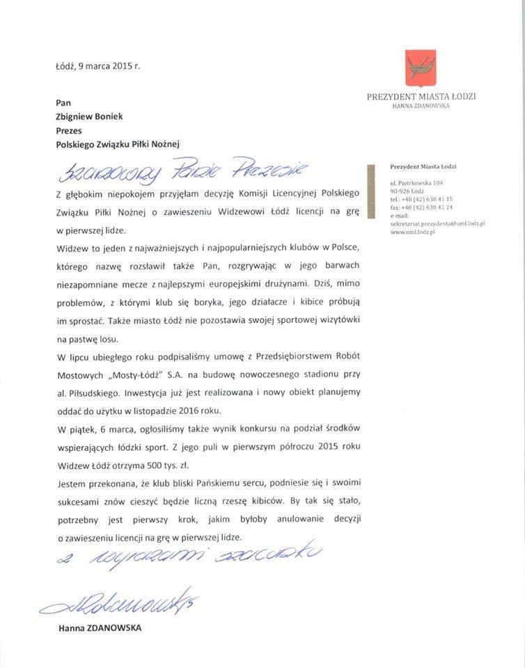 List prezydent Łodzi Hanny Zdanowskiej do prezesa PZPN Zbigniewa Bońka