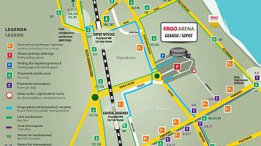 mapka terenu przyległego do Ergo Areny obrazująca miejsca parkingowe udostępnione na potrzeby imprezy