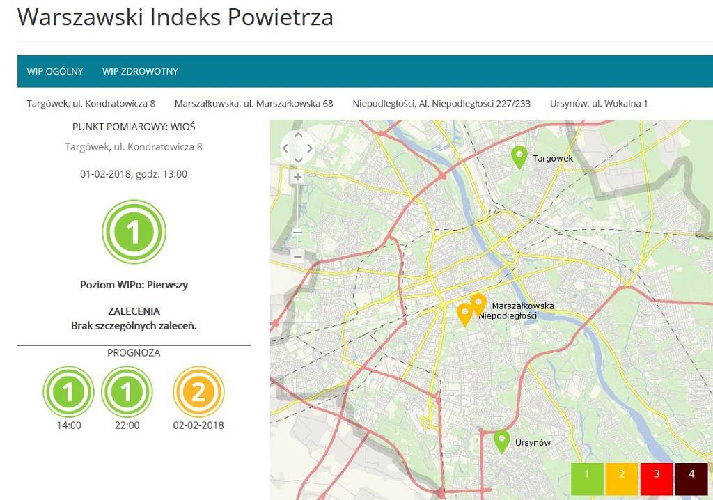 Warszawski Indeks Powietrza - prognoza na kolejne godziny