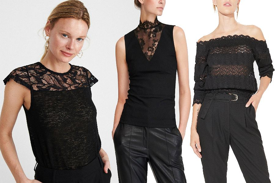Czarne bluzki koronkowe