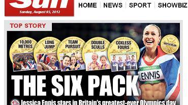 """""""Sześciopak"""" - tabloid The Sun cieszy się z sześciu brytyjskich złotych medali zdobytych w sobotę."""
