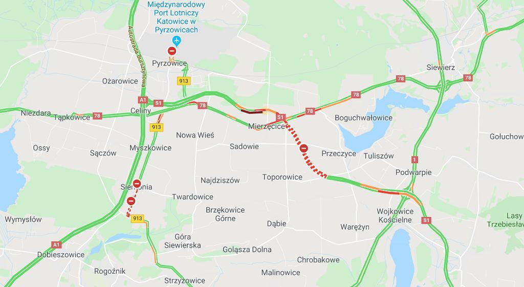 Wypadek na S1 w pobliżu lotniska w Pyrzowicach (ilustracja)