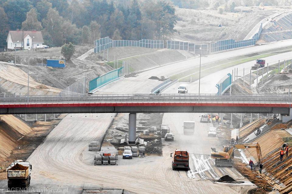 Mszana, budowa autostrady A1 przez konsorcjum Alpine Bau, 13 października 2011 r.