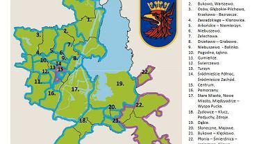 Propozycja podziału miasta na 22 obszary lokalne, które będą miały własną pulę pieniędzy z SBO
