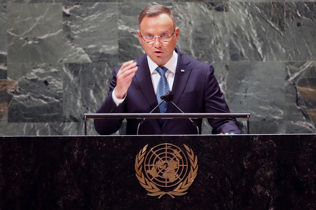 Prezydent RP Andrzej Duda przemawia na forum Zgromadzenia Ogólnego ONZ. Nowy Jork, USA, 21 września 2021