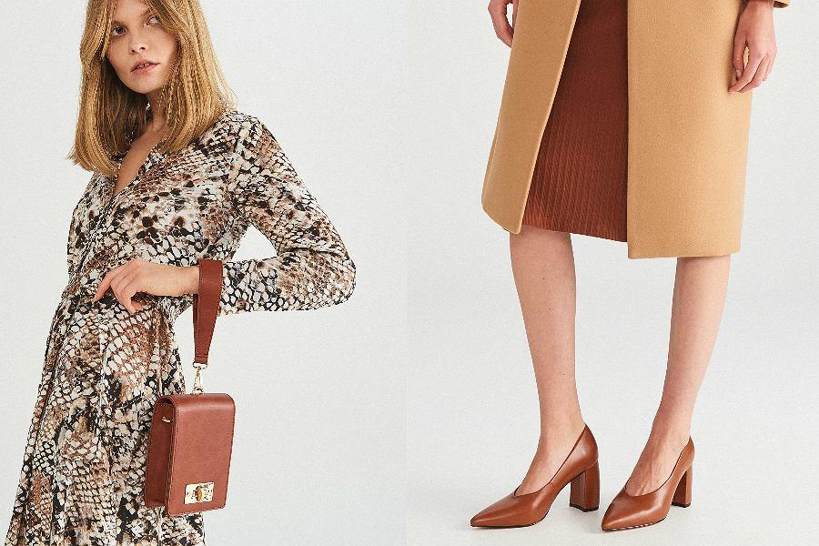 Brązowe buty i torebki