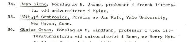 Lista nominowanych do Literackiej Nagrody Nobla w 1969 roku