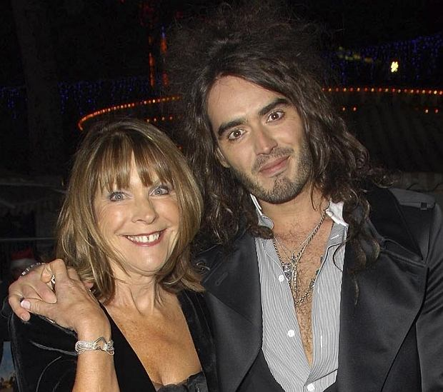 """RUSSEL BRAND & HIS MOTHER  Arriving at the """"St. Trinian's"""" UK Film Premiere at the  Empire Leicester Square, London, England,   December 10th 2007.  full length black dress Mum   CAP/CAS"""