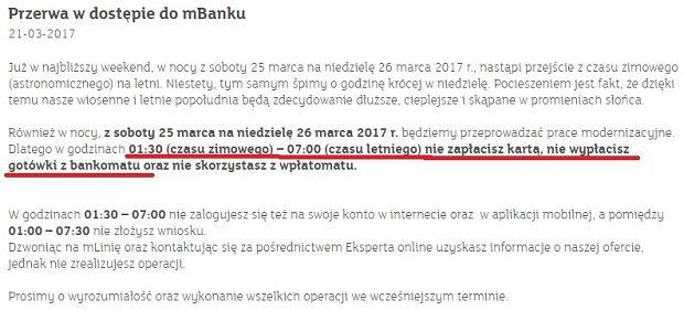 Komunikat mBanku o przerwie technicznej