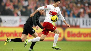 Robert Lewandowski w meczu reprezentacji Polski z Irlandią