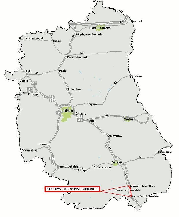 Mapa obwodnicy Tomaszowa Lubelskiego