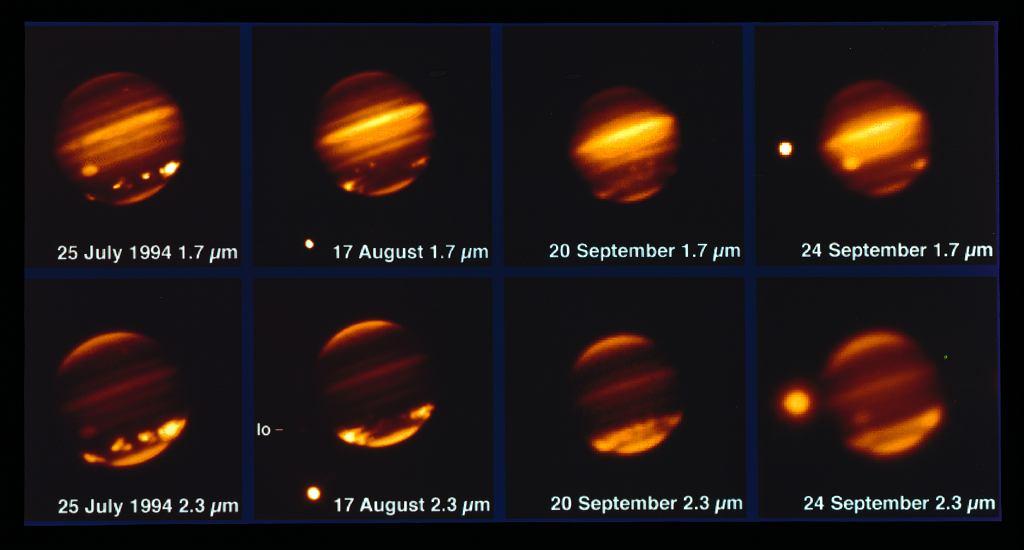 Obrazy pokazujące uderzenie komety Shoemaker-Levy 9 w Jowisza w lipcu 1994 roku