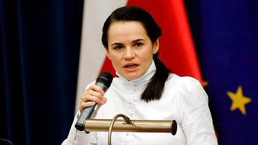 Swiatłana Cichanouska podczas wystąpienia na Uniwersytecie Warszawskim, 9 września 2020 r.