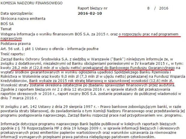 Komunikat Banku Ochrony Środowiska o stracie za 2015 i rozpoczęciu prac nad programem naprawczym