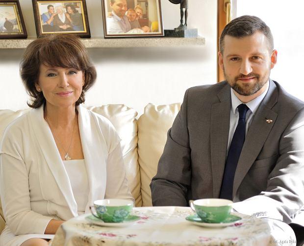Halina Frąckowiak z synem Filipem