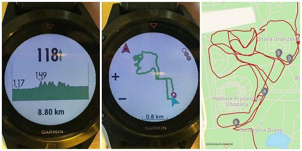 Fenix5, zapis biegu w Łazienkach