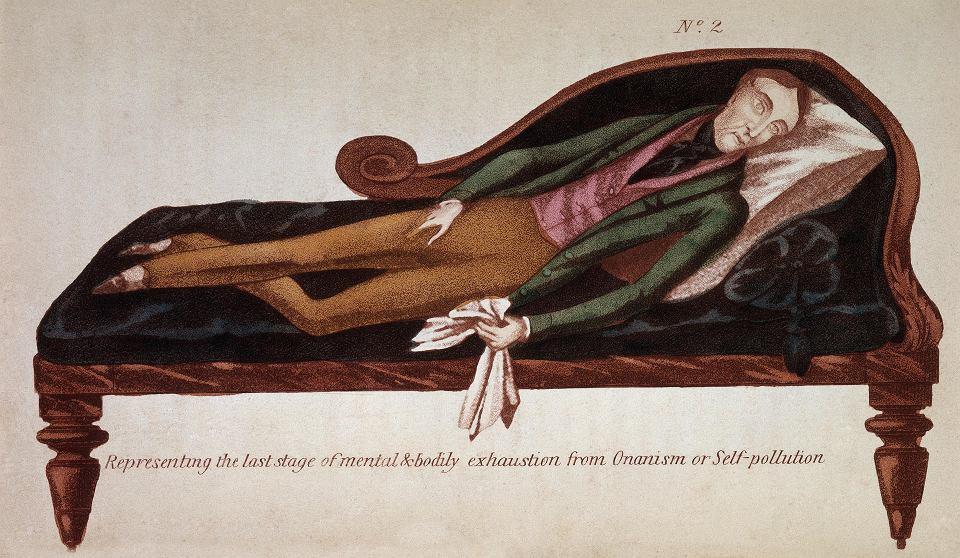 Broszura z 1845 r. autorstwa R.J. Brodiego. Pokazuje zgubne skutki onanizmu, ostatnie stadium psychicznego i cielesnego wyczerpania