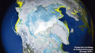 Maksymalny zimowy zasięg lodu morskiego w Arktyce w 2015 r. Na żółto - zimowe maksimum z lat 1979-2014