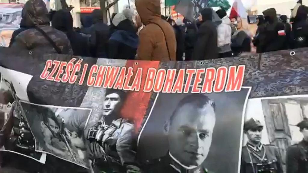 Romuald Rajs 'Bury' na Hajnowskim Marszu Żołnierzy Wyklętych