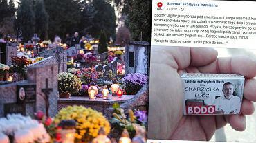 Materiały wyborcze na cmentarzach