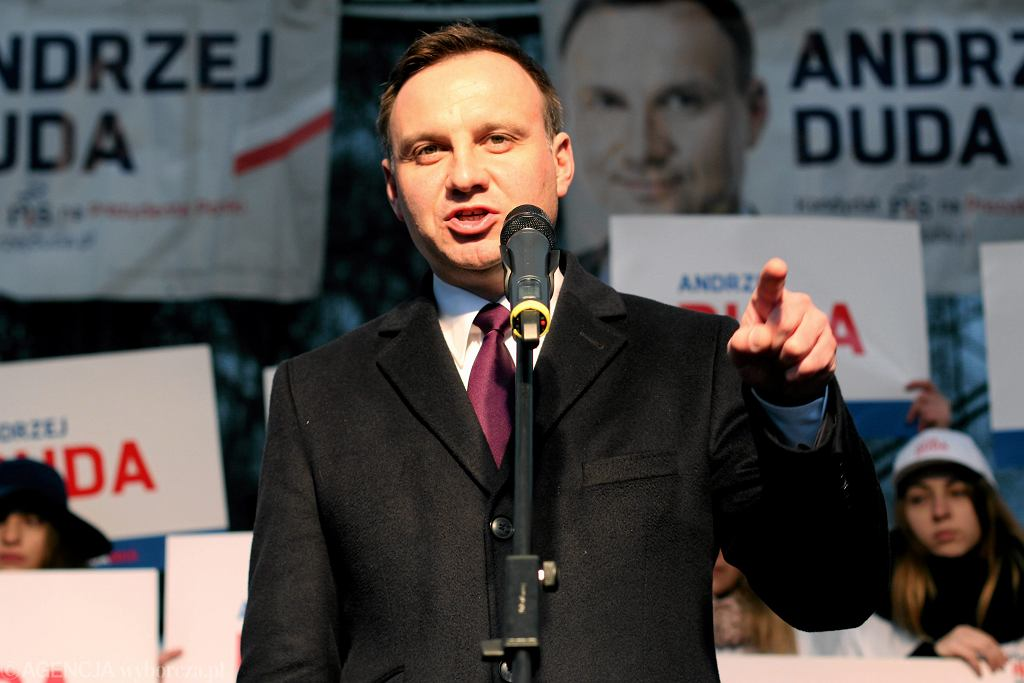 Kandydat PiS na prezydenta Andrzej Duda podczas kampanii wyborczej