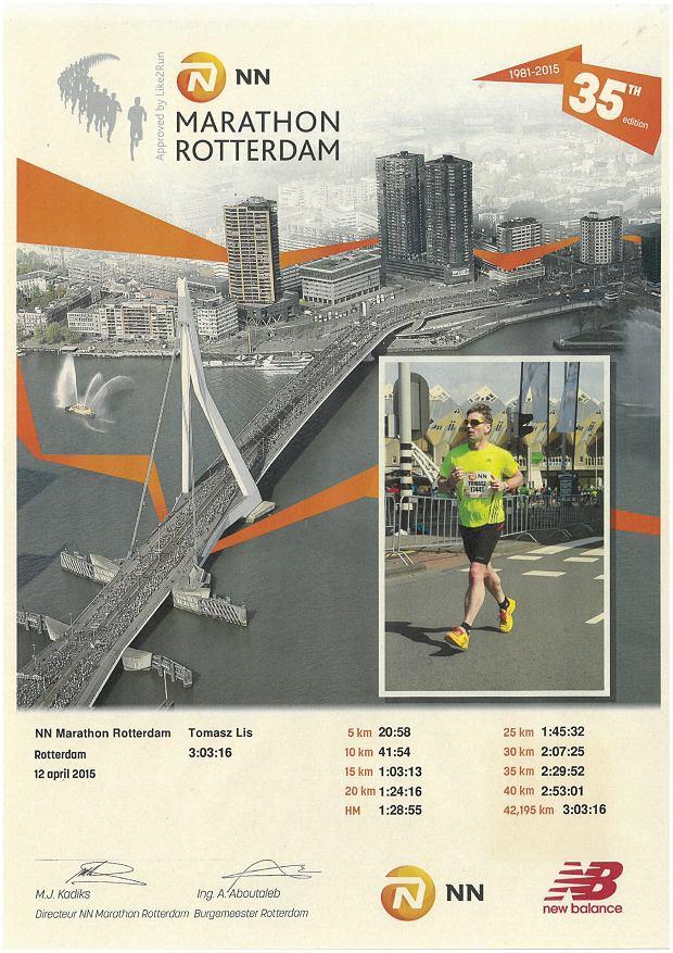 Tomasz Lis w trakcie maratonu w Rotterdamie