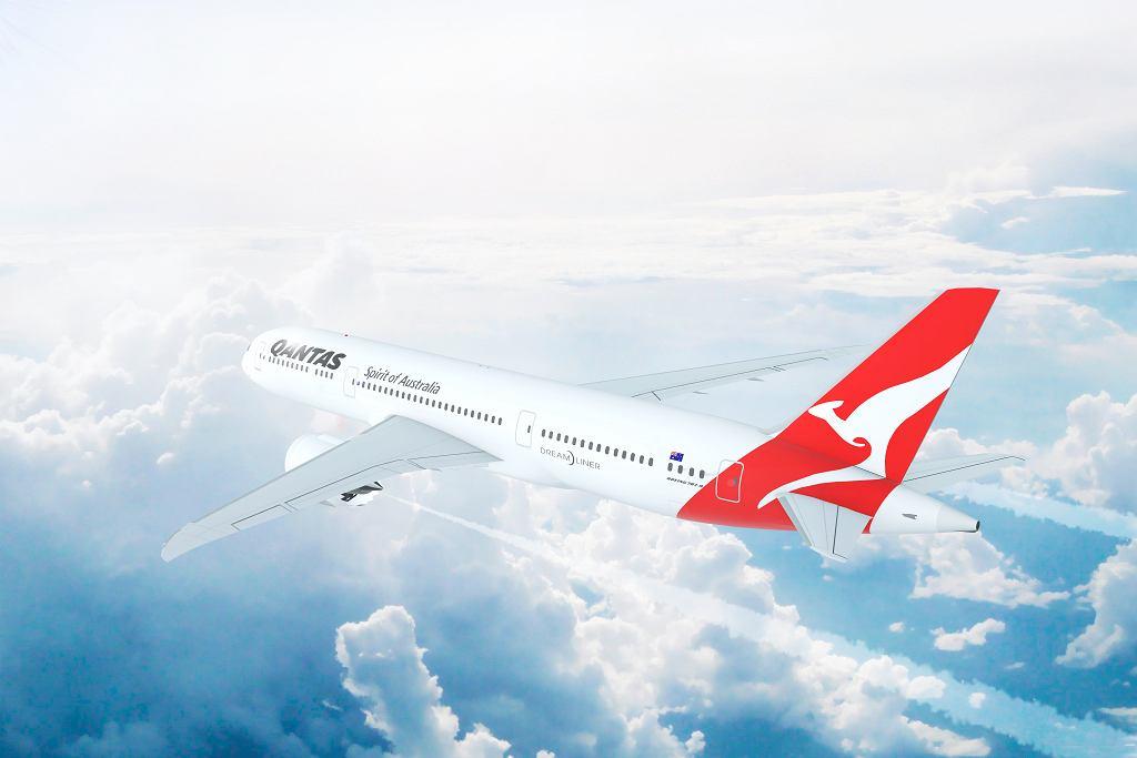 Boeing 787 w barwach linii Qantas, zdjęcie ilustracyjne.