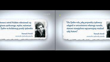 Zrzuty ekranu materiału 'Wiadomości TVP' poświęconego Holocaustowi z 18 lutego. Po lewej fałszywy cytat z Hannah Arendt, po prawej cytat po przemontowaniu materiału