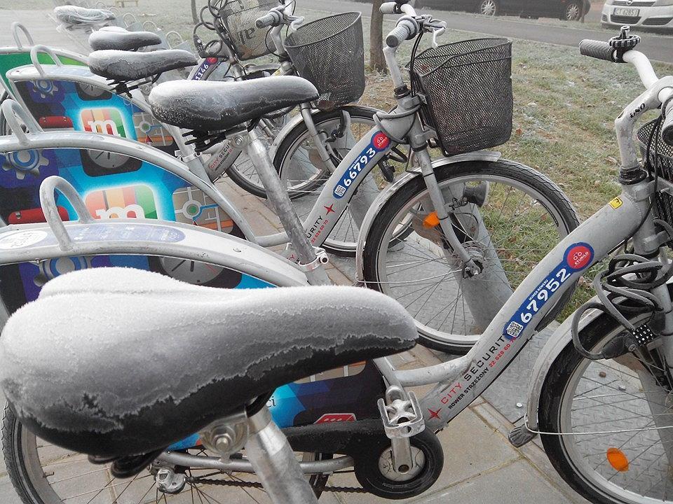 Tak wyglądają rowery Veturilo w mroźny poranek
