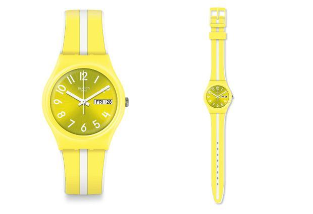 Żółty zegarek Swatch w paski z nowej kolekcji wiosna-lato 2019