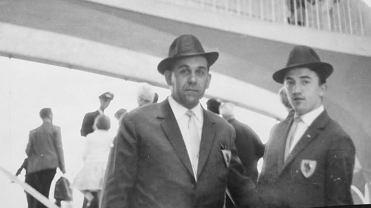Franciszek Wszołek i Zbigniew Myga podczas wyjazdu Zagłębia Sosnowiec do Ameryki  w 1964 roku