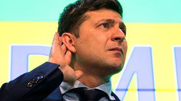 Wołodymyr Zełenski, zwycięzca pierwszej tury wyborów prezydenckich na Ukrainie, na konferencji prasowej po ogłoszeniu wyników exit poll.