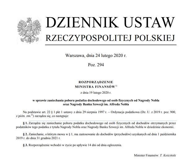 Rozporządzenie ministra finansów w sprawie podatku od nagrody Olgi Tokarczuk