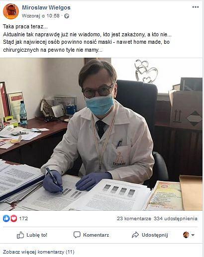 Prof. Mirosław Wielgoś, rektor Warszawskiego Uniwersytetu Medycznego, zaleca maseczki i sam daje przykład na Facebooku,