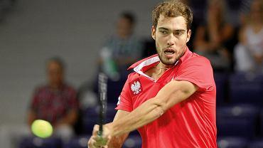 Jerzy Janowicz podczas meczu tenisowego Pucharu Davisa