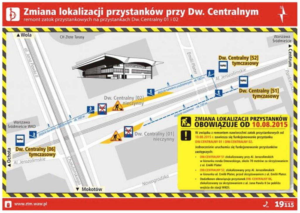 Remont nawierzchni przy Dworcu Centralnym. Zmiana lokalizacji przystanków
