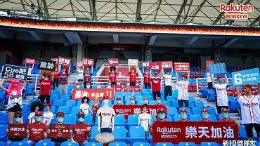 Mecz baseballa na Tajwanie. Na trybunach drużyny Rakuten Monkeys siedzą kibice-manekiny.