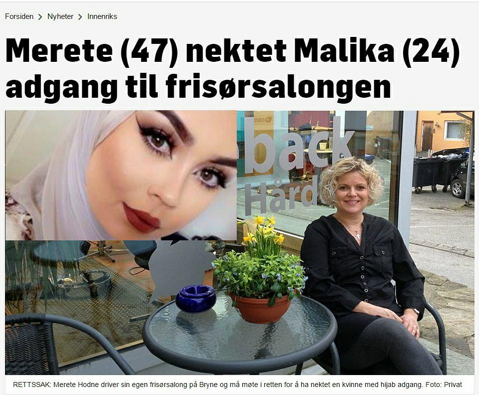 Merete Hodne nie wpuściła muzułmanki noszącej hidżab do swojego salonu.