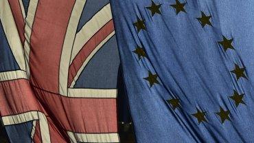 Flaga Wielkiej Brytanii i Unii Europejskiej